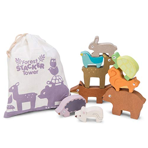 Le Toy Van Petilou Wooden Forest Stacker Tower and Bag
