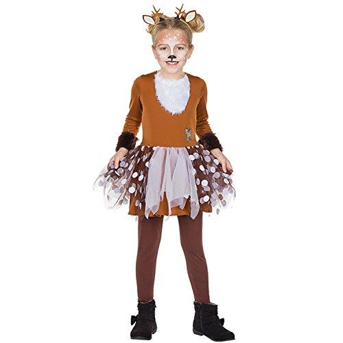 Kinder Kostüm Rehkitz Bambi Gr. 104-140 Kleid braun Tier Reh Fasching Karneval ()