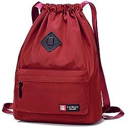 Badiya Mochila con cordón para Gimnasio, Bolsa de Piel sintética Impermeable para Hombres y Mujeres, Color Rojo, tamaño Talla única