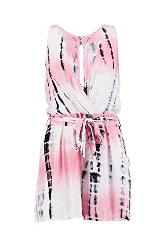 Corail Femmes Zoe Tie Dye Emballage Avant Playsuit Corail