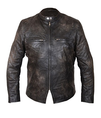F&H Men's Burnt Distressed Cowhide Leather Biker Jacket