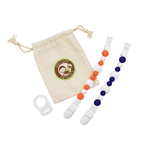 Preisvergleich Produktbild Mädchen / Jungen Schnullerkette - ( 2er Pack) Schnullerhalter aus Silikon - Lustige, farbige und BPA - freie Silikonring Adapter (Blau + Orange Herz Set)
