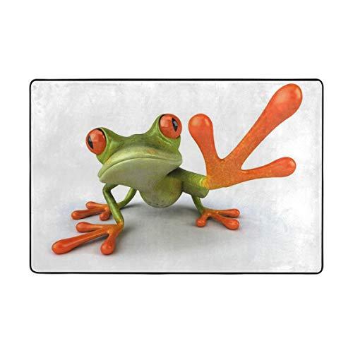�ßer Frosch mit großem Fuß, Polyester, lustige Fußmatte für den Eingangsbereich, Fußmatte, Hausdekor, Schuhe, Schaber, Rutschfest, waschbar, Polyester, 1, 36 x 24 inch ()