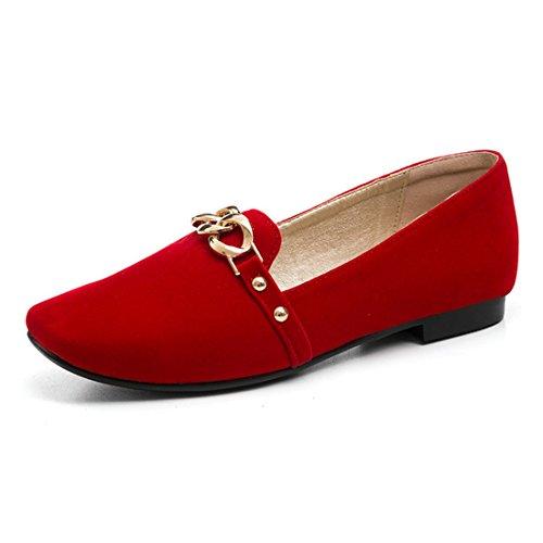 RFF-Chaussures de printemps, d'été et d'automne Escarpins Femme/Ouvert/European and American big Code Women's Shoes with a Flat Base Satin Square Student Shoes