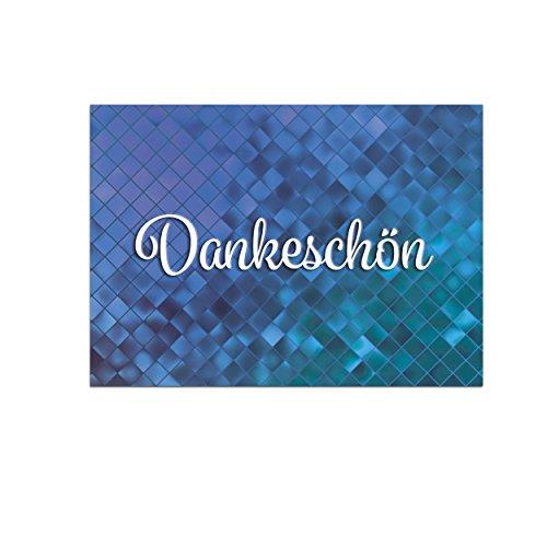 15 schöne Dankeskarten (Abstrakt blau) mit 15 Umschlägen im Set - Danksagungskarten, Danke sagen nach Hochzeit, Geburt, Baby, Taufe, Geburtstag