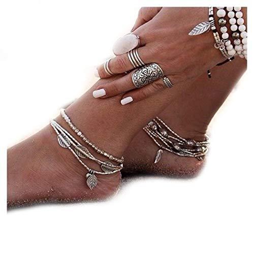 Simsly Jl-075 Bracelet de Cheville de Plage avec Feuilles - Bijoux pour Femmes et Filles (dor