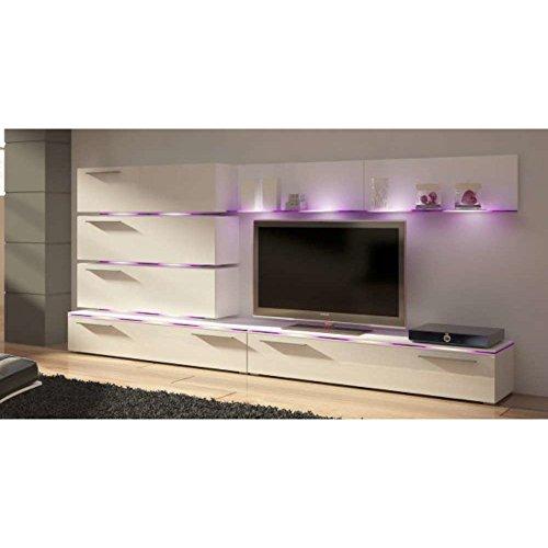 JUSThome DIAMOND LED Wohnwand Anbauwand Schrankwand (HxBxT): 134x300x40 cm Weiß Matt / Weiß Hochglanz