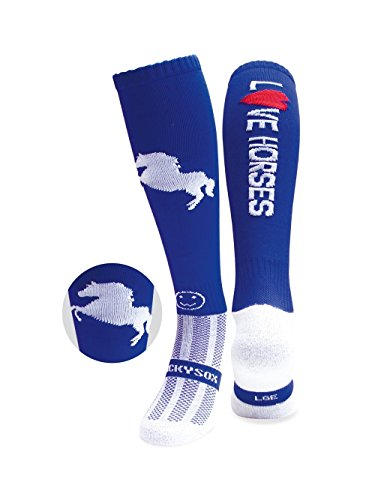 41ScstQHAfL - WackySox Love Horses Royal Blue Equestrian Sports Socks Adult Shoe Size 7-11 sports best price Review uk