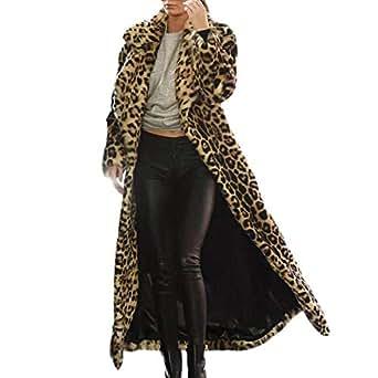 6d5f410b9bc1 Janly Frauen Leopard Print Outwear warme Lange Dicke Pelz Baumwolle ...