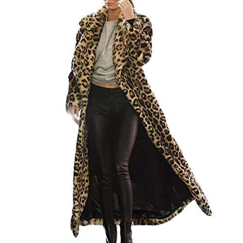 Likecrazy Leopard Drucken Mantel warme lange dicke Künstlich Pelz Baumwolle Parka dünne Jacke Lady Elegant Hipster Young Outcoat Zwei Hosentaschen luxurious Winterjacken (Brown,L) Leopard Mantel