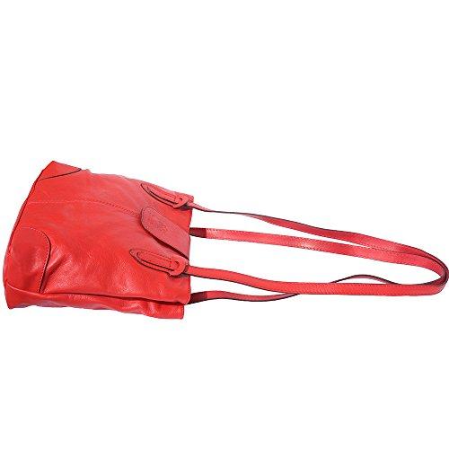 Borsa a spalla con doppi manici 015 Rosso