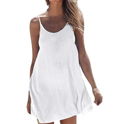 MAYOGO Sommerkleid Damen Kurz Spagettiträger Minikleid Blusen Kleid Unifarben Ohne ärmel Rückenfrei Sommer Strandkleid Sundress Beachwear