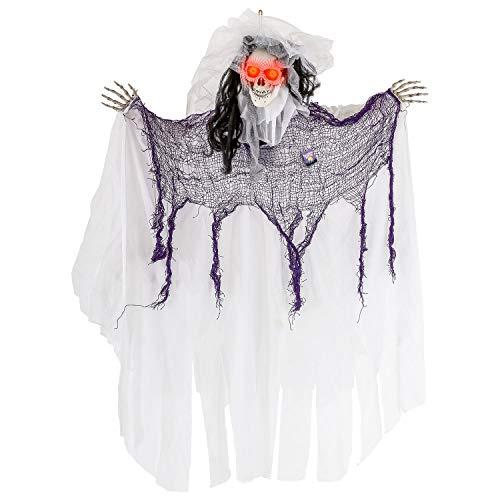 Halloween Haunters Animierte 91,4 cm hängende Geister-Skelett Braut Requisite Dekoration - Reaper Skull bewegt Sich vorwärts, spukende Kackle Sound Phrasen, LED-Licht Augen (Halloween Braut Animierte)