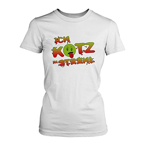 Ich kotz im Strahl - Damen T-Shirt von Fashionalarm | Fun Shirt Spruch Spaß Kotzen Abkotzen Abgenervt Nervig Kein Bock eklig lustig Weiß