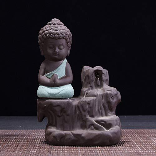 VIGE Keramik Buddha Statue Mönch Figur Tathagata Ofen Kleine Tathagata Weihrauch Brenner Buddhismus Dekoration Keramik Aroma Herd - grün -