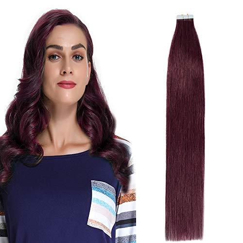 40cm extension capelli veri adesive biadesivo riutilizzabili - 20 fasce * 2.5g #99j vino rosso - 100% remy capelli umani peruviani