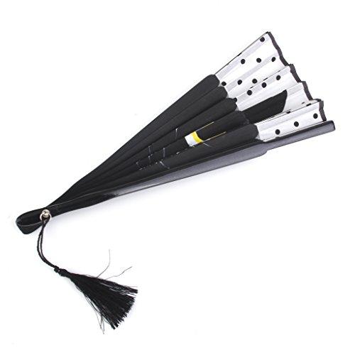 Plegable Abanico de Tela y Bambú con Dibujo Gato Negro de Estilo...