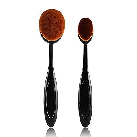 Oshide 2 Stück Make Up Pinselset Oval Zahnbürsten Bürsten Set Face Puder Foundation Schmink