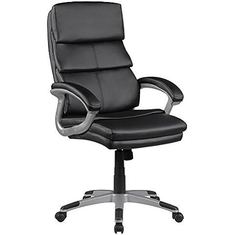 FineBuy sedia da ufficio FRANZ similpelle nera sedia imbottita scrivania sedia XXL Chefsessel 120KG girevole con braccioli ribaltabili funzione di inclinazione regolabile in altezza della sedia schienale alto con poggiatesta Hochlehner