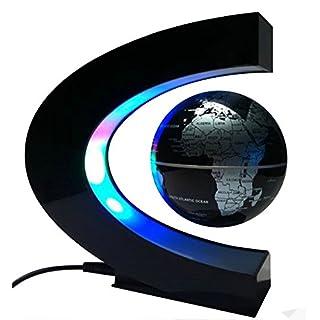 MKQPOWER Schwebender Globus Weltkugel mit LED im C – förmigen Magnetständer, tolles Weihnachtsgeschenk und Eyecatcher(EU Stecker)