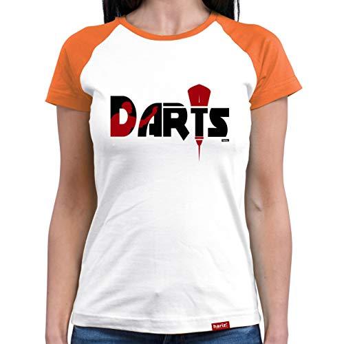 HARIZ  Damen Baseball Shirt Darts Darter Silhouette Dart Sprüche Männer WM Plus Geschenkkarte White/Orange XXL -