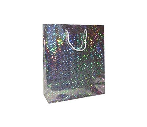* * NEU * * Wunderbar Große Holografische Silber Geschenk Taschen-Für Weihnachten präsentiert Geburtstage-12Stück (Geschenk-taschen Große Weihnachten)