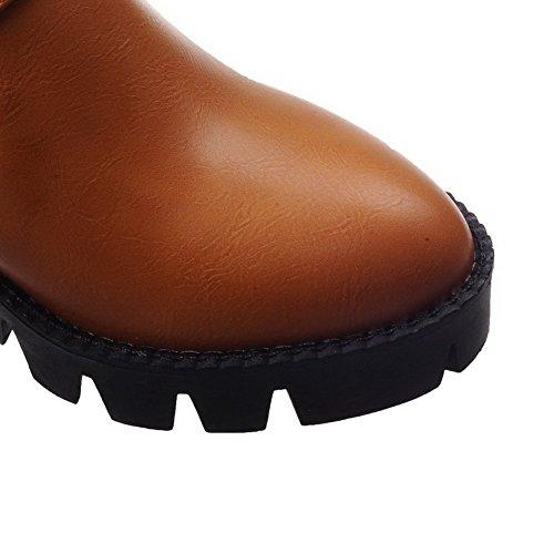 AgooLar Damen Ziehen Auf Pu Leder Rund Zehe Rein Mittler Absatz Pumps Schuhe Gelb
