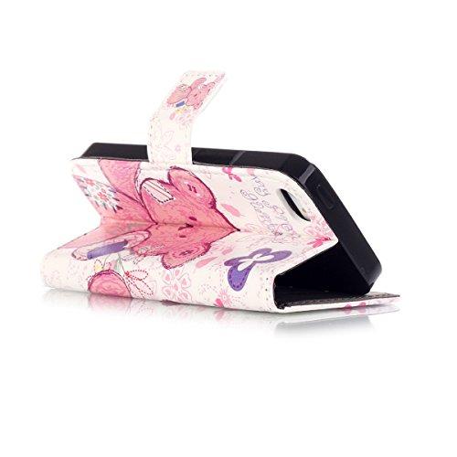 5S Coque, iPhone 5S Coque, Lifeturt [ Peinture Tour ] Etui en Cuir Folio Magnétique Fermeture Housse Coque de Protection Coque Housse Etui avec Rangements de Cartes Ultra Slim Portefeuille PU Cuir Coq E02-Ours Fleur Rose3330