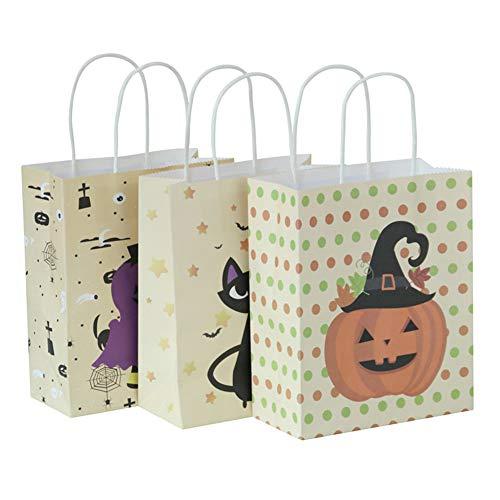 Ailin Online 3er-Pack Halloween-Geschenktüten aus Kraftpapier für Süßigkeiten, Geschenktüten mit Griff für Geburtstag, Halloween, Partys