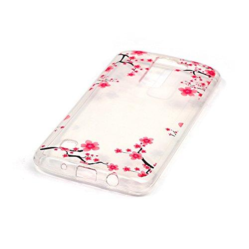 LG K8 Custodia in Pelle ,Feeltech iPhone SE/5S/5 Ultra Sottile Crystal Clear Copertura in Silicone Alta Qualità Colorful Design Pattern Jelly Protective Flessibile Soft Shell di TPU Gel Assorbimento U Rosa Plum Blossom