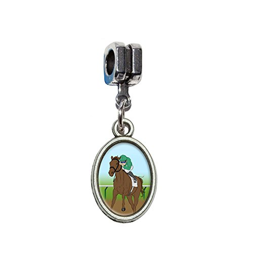 Horse Racing–Race Jockey Italienisches europäischen Euro-Stil Armband Charm Bead–für Pandora, Biagi, Troll,, Chamilla,, andere