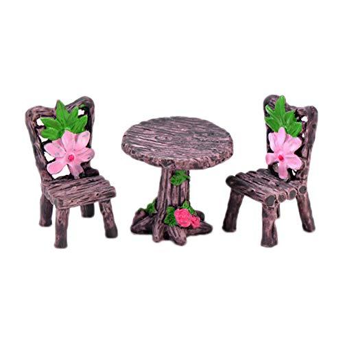 fablcrew. 1 mini tavolo e sedia in resina bonsai fatina giardino micro paesaggio decorazione