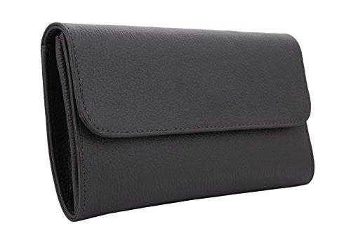 ELA Damen Clutch Abendtasche Handtasche Party-begleiter aus hochwertigem Leder Dunkelgrau
