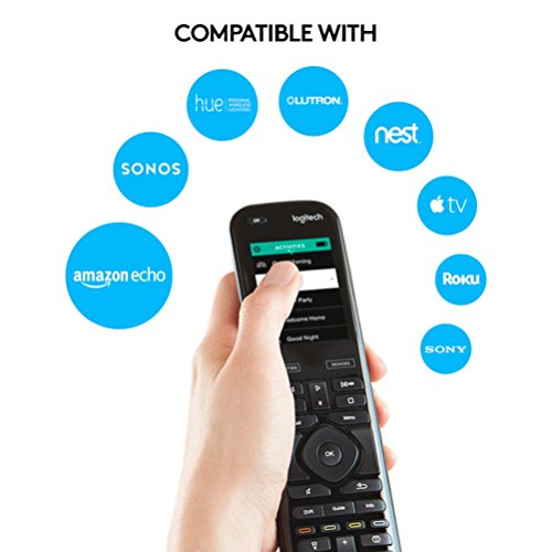 Logitech Harmony Elite Remote Control, Hub and App, Works with Alexa, Black