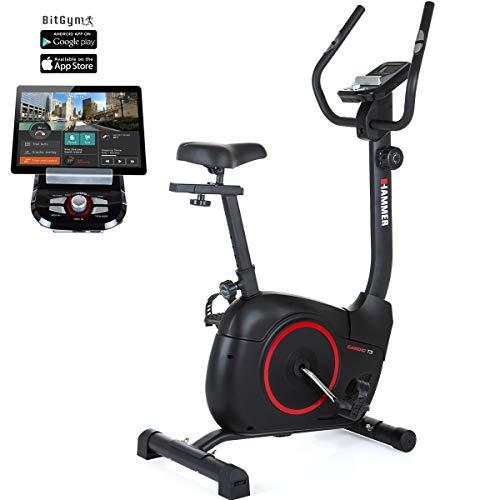 HAMMER Heimtrainer Cardio T3, geringer Einstiegs-Widerstand, besonders leises Fitnessfahrrad, Comfort-Sattel, geeignet als Heimtrainer für Senioren, Tablethalterung, 90 x 46 x 137 cm