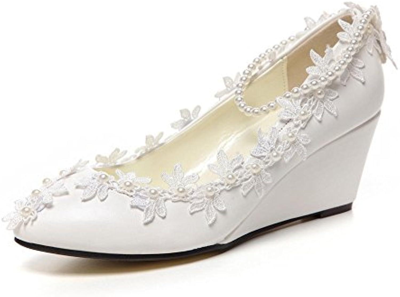 JINGXINSTORE 5 cm/5,1 cm Wedge faible talons talons faible Princesse Perles Dentelle Floral   Chaussures pour mariage Femme...B07DK8WJ8VParent e9701b