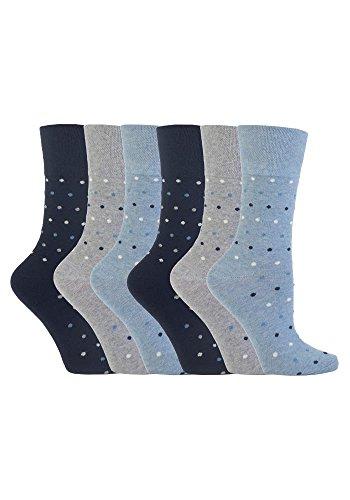 Gentle Grip - 6 Paar Damen Gesundheitssocken Ohne Gummi Diabetiker Druckfreie Handgekettelt Baumwollanteil Socken 37-42 EUR (GG49)
