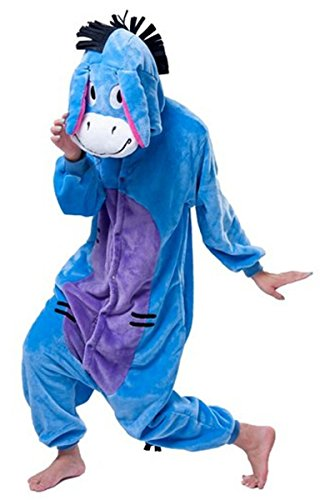 Pikachu Kostüm Familie - WOWcos® Unisex-Erwachsene Pikachu Einteiler Cosplay Kostüm Schlafanzüge Tier Kigurumi Halloween Weihnachts Geschenk Gr. Small, Esel