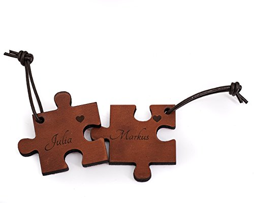 CHRISCK design Echtes Leder 2 Schlüsselanhänger mit Gravur / Lieblingsmensch Puzzle Partner-Liebes-Geschenk aus Vollleder Versch. Farben mit Text-Namens-Gravur Geschenkidee Muttertag Vatertag