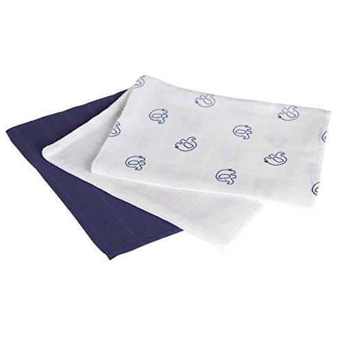 BORNINO BASICS 3er-Pack Mullwaschlappen 15x20 cm weiß/blau OneSize (Waschlappen Bettwäsche,)