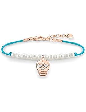 Thomas Sabo Damen-Armband Love Bridge Totenkopf 925 Sterling Silber 750 rosegold vergoldet Nylon Perle Länge von...