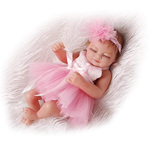 "LILITH Mini 10"" Pink Dress Sleeping Reborn Girl Dolls Soft Full Silicone Vinyl Baby Girl Dolls with Free Dummy Best Gift"