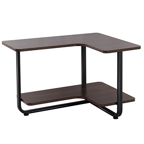 Lifewit tavolo laterale a 2 ripiani tavolo a forma di l tavolo da salotto/scrivania couch side end table, espresso