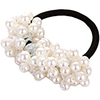 Yesiidor Women's Girls Faux Pearl Hair Band Rope Fashion Pearl Elastic Ponytail Holder Hair Accessories