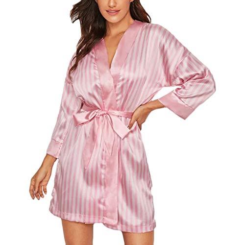 CLOOM Bata De Baño Mujer Sexy Pijamas De Mujer Elegantes Casual Suave Vestido Pijama Corto Kimono Bata De Satén Lencería Seda De Hielo Bata Albornoz Camisón