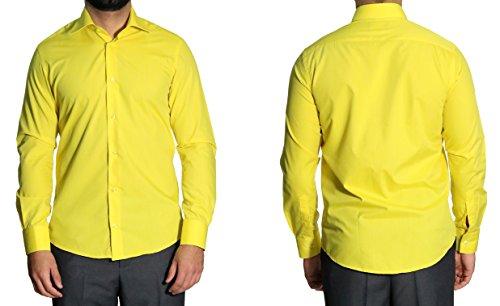 Herrenhemd Kent Kragen Slim-fit/Tailliert Muga Gelb