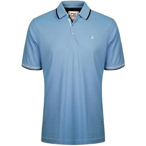 Cutter Buck &-Camiseta de manga corta algodón, Polo para hombre, diseño con abbottonatura, diseño de rayas azul Blu - blu