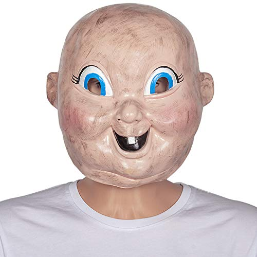 JNKDSGF HorrormaskeVoller Kopf Latex Happy Death Day Maske beängstigend Baby Kopf Kostüm (Beängstigend Kostüm Babys)