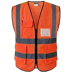 Almencla Gilet de Sécurité de Réparation de Travail de Protection Réutilisable - orange s