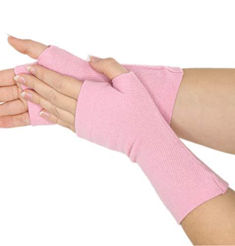 Prettystern Pulswärmer Unifarbe Handschuhe Fingerlos Hand-fingerlose Stulpen 100% Kaschmir Weich Warm Hell-rosa (Fingerlose Rosa Handschuhe)